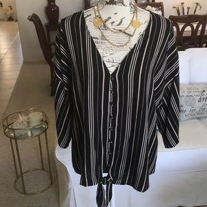Cute black and white striped top by Maurice